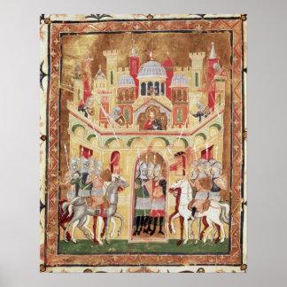 Battle scene at the walls of Jerusalem Print