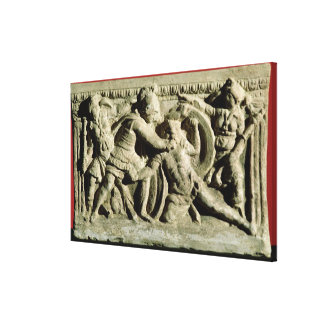 Battle scene from a cinerary urn, Etruscan Stretched Canvas Prints