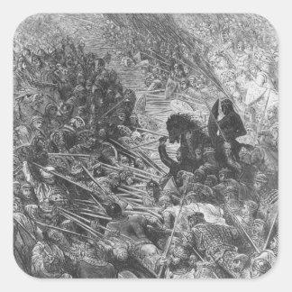 Battle scene, illustration from 'Orlando Furioso' Square Sticker