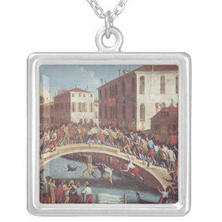 Battle with Sticks on the Ponte Santa Fosca Silver Plated Necklace
