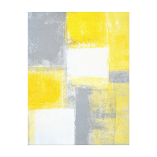 'Battlefield' Grey and Yellow Abstract Art Canvas Print