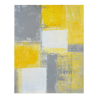 'Battlefield' Grey and Yellow Abstract Art Poster