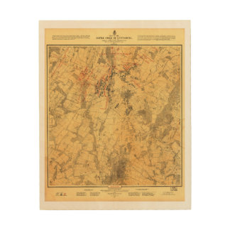 Battlefield of Gettysburg Map by John Bachelder Wood Print