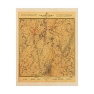 Battlefield of Gettysburg Map by John Bachelder Wood Print