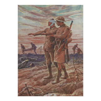 Battlefield War Friendship Leading Blind Soldier Poster