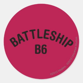 Battleship B6 Logo Classic Round Sticker