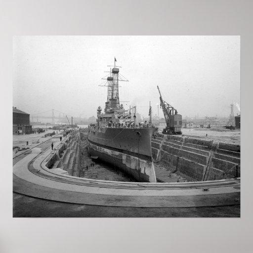 Battleship in Dry Dock, 1920 Posters