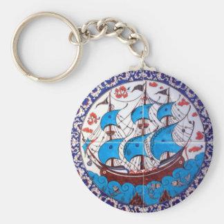 Battleship Pattern / Tile Art Basic Round Button Key Ring