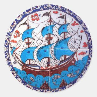 Battleship Pattern / Tile Art Round Sticker