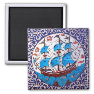 Battleship Pattern / Tile Art Square Magnet
