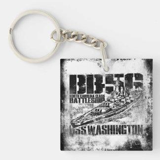 Battleship Washington Double-Sided Square Acrylic Double-Sided Square Acrylic Key Ring