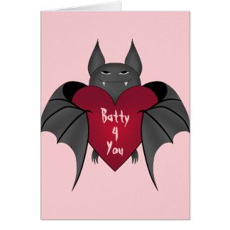 Batty 4 You Valentine's Day bat Greeting Card