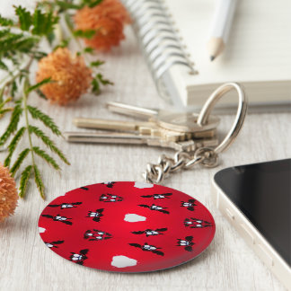 Batty Basic Round Button Key Ring