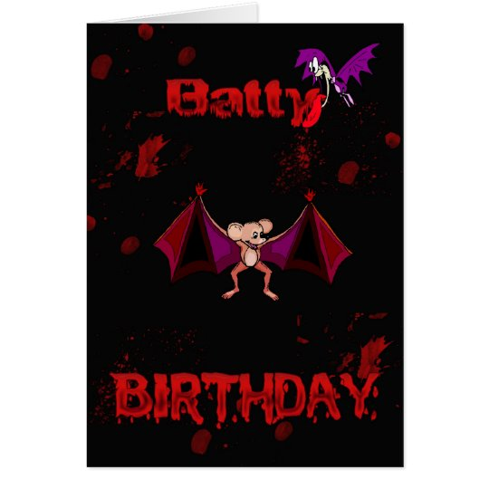 Batty Birthday Blood Bats Goth Emo Alternative Card