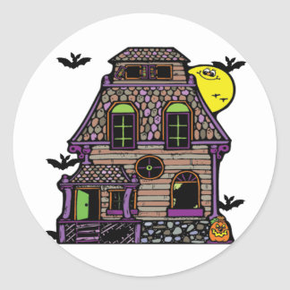 Batty Happy Haunted Home Round Sticker