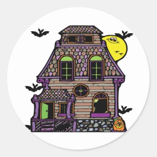Batty Happy Haunted Home Round Sticker