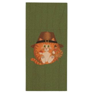 Bauble Cat Thanksgiving Wood USB 2.0 Flash Drive