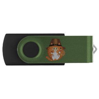 Bauble Cat Thanksgiving Swivel USB 2.0 Flash Drive