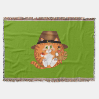 Bauble Cat Thanksgiving Throw Blanket