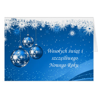 Baubles and snowflakes Polish Christmas, New Year Card