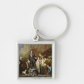 Baudin on the Barricade of Faubourg Silver-Colored Square Key Ring