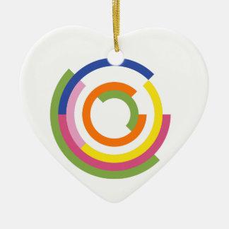 Bauhaus Inspired Design In A Greenery Palette Ceramic Heart Decoration