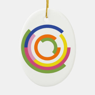Bauhaus Inspired Design In A Greenery Palette Ceramic Oval Decoration