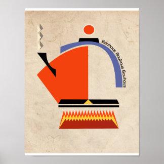 Bauhaus tea pot mid-century art poster