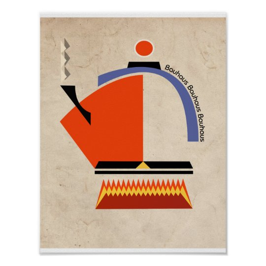 Bauhaus tea pot mid-century art poster