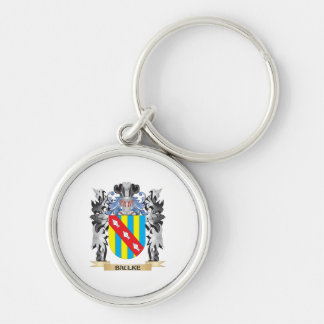 Baulke Coat of Arms - Family Crest Silver-Colored Round Key Ring