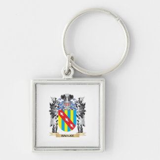 Baulke Coat of Arms - Family Crest Silver-Colored Square Key Ring