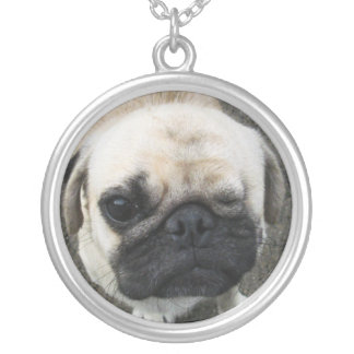 Bauwk ... Cute Pug Dog Puppy Silver Plated Necklace
