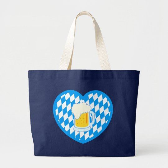 Bavaria Bavaria heart beer heart more beer Large Tote Bag