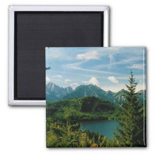 Bavarian Alps Square Magnet