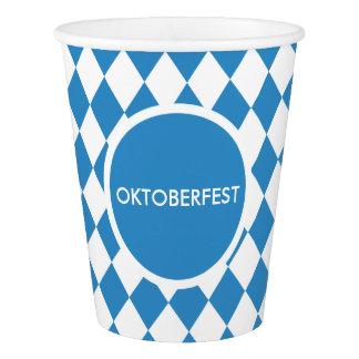 Bavarian Geometric Pattern for Oktoberfest. Paper Cup