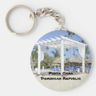 Bavaro Beach on the island of Punta Cana Basic Round Button Key Ring