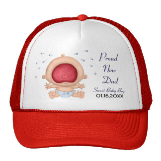 Bawling Baby - Boy Announcement for New Dad Trucker Hat