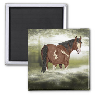 Bay and White Splash Overo Paint Horse Square Magnet