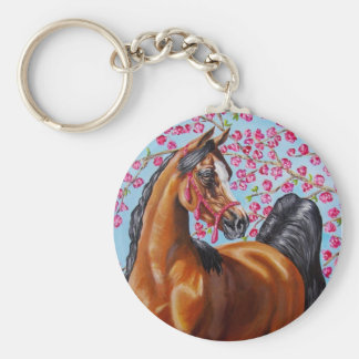 bay Arabian with blossoms Basic Round Button Key Ring