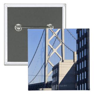 Bay Bridge and Buildings, San Francisco 15 Cm Square Badge