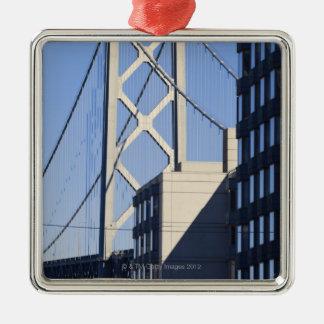 Bay Bridge and Buildings, San Francisco Silver-Colored Square Decoration