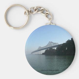 Bay Bridge from Clipper Cove, San Francisco, CA Basic Round Button Key Ring