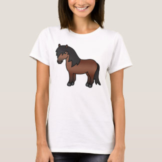 Bay Brown Shetland Pony Cartoon Illustration T-Shirt