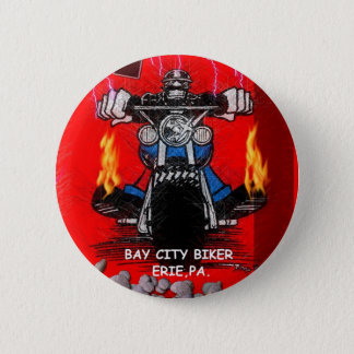 BAY CITY BIKER    (BUTTONS) 6 CM ROUND BADGE