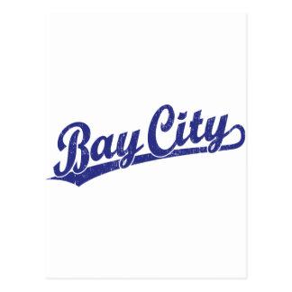 Bay City script logo in blue Postcard