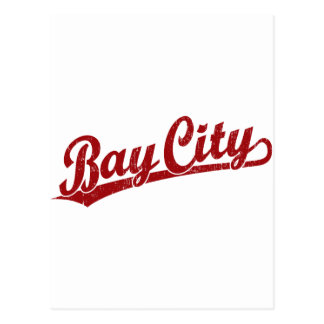 Bay City script logo in red Postcard