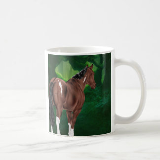 Bay Dun Tobiano Paint Horse in Thicket Coffee Mug