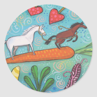 Bay Horse Guides White Horse With Love and Carrots Round Sticker