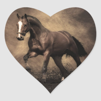 Bay Horse Heart Sticker