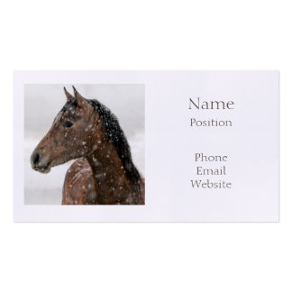 Bay Horse in Gently Falling Snow Business Cards